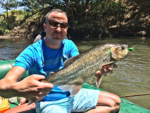 Client Aaron Fridz shows off a beautiful machaca taken on a popper.